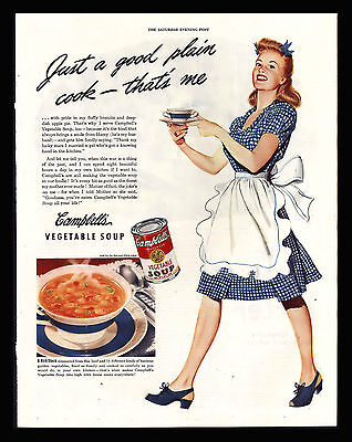 "Original 1945 ""campbell's Soup"" Pretty Housewife Vegetable Soup Art Print Ad"