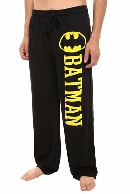 Mens Womens NEW Batman Bat Symbol Black Pajama Lounge Pants Size XS S M L XL 2XL