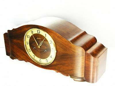 Rare Beautiful Art Deco Junghans Chiming Mantel Clock  With Pendulum