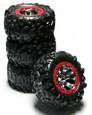 Summit TIRES (Canyon AT 17mm RED WHEELS (set 4 Factory Glued Traxxas #5607