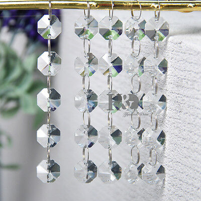 5 Strings Clear Crystal Chandelier Prism Lamp Octagon Bead Chain Wedding Pendant