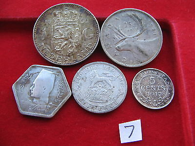 5 x Silver World coins collectable worth a look free UK Insured post lot 7