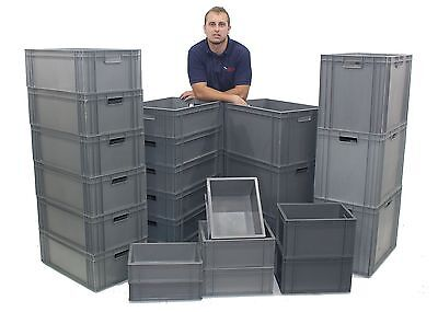 NEW Stacking Heavy Duty Commercial Type Plastic Euro Storage Box Boxes 14 Sizes