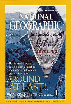 Bertrand Piccard signed original 1999 National Geographic cover page / autograph