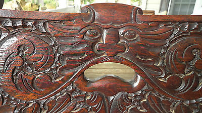 Northwind Faces Set / 4 Antique Tiger Quartersawn Oak Chairs  Rare Very Unusual