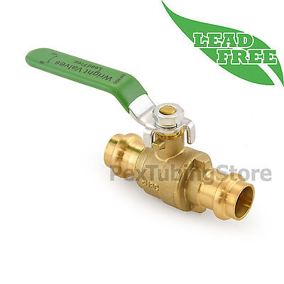 "1/2"" Press Lead-Free Brass Shut-Off Ball Valve, Full Port, 250psi WOG"