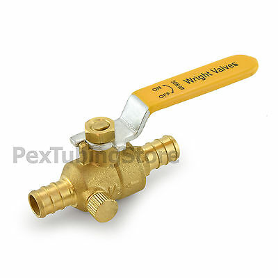 "(10) 1/2"" PEX Crimp Style Shut-Off Brass Ball Valves w/ Drain Outlet, Full Port"