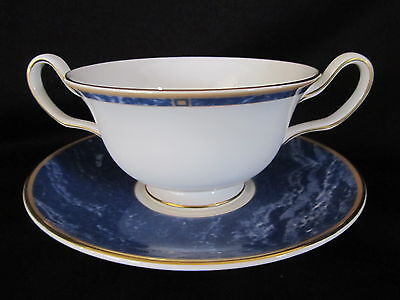 Wedgwood - CANTATA BLUE - Cream Soup Bowl & Stand - BRAND NEW