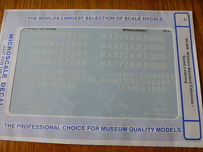 Microscale O #48-209 Western Maryland Cabooses-Speed Lettering (Decal Sheet)