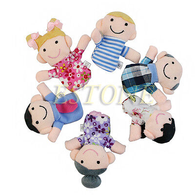 6PCS Baby Kids Plush Cloth Play Doll Learn Story Game Family Finger Puppets Toys