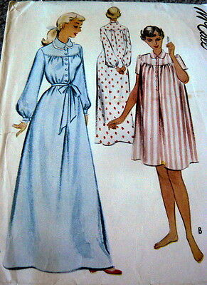 LOVELY VTG 1950s NIGHTGOWN McCALL Sewing Pattern MEDIUM