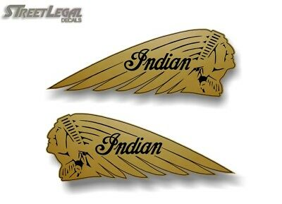 """2 Gold 12"""" Indian Motorcycle War Bonnet Vinyl Graphic Decals L/R for Saddle Bags"""