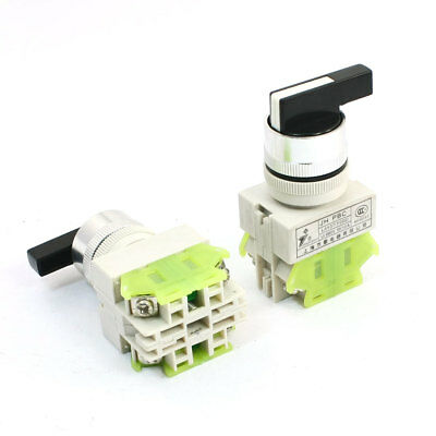 2pcs 4 Screw Pin 3 Position Rotary Selector Push Button Switch AC 660V 10A