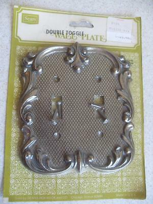 NEW in pkg Antique BRASS DOUBLE TOGGLE WALL SWITCH PLATE electrical vtg ORNATE