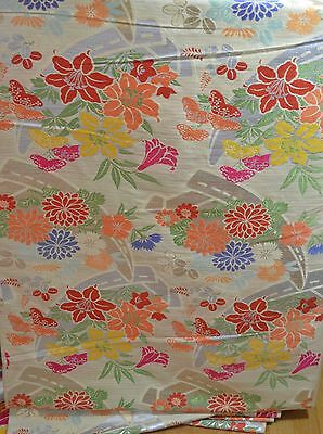 Exquisite Vintage Japanese Asian Silk And Metallic Brocade Fabric Rr38