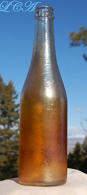 Beautiful ANTIQUE orange CARNIVAL GLASS soda bottle CANADA DRY - Ginger Ale