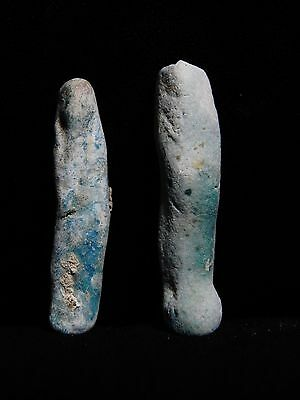 Zurqieh - 3- Ancient Egypt . Lot Of Two Faience Ushabtis ,  600 - 300 B.c