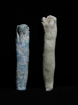 Zurqieh - 4- Ancient Egypt . Lot Of Two Faience Ushabtis ,  600 - 300 B.c
