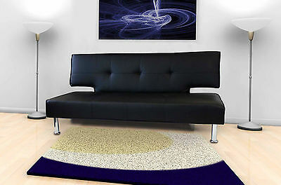 Stylish Modern Designer 3 Seater Small Single Sofa Bed Black White Faux Leather