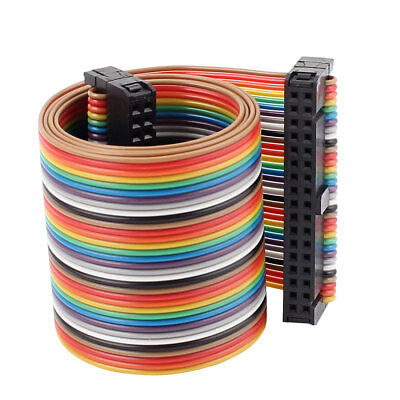IDC 34 Pin 34 Way F/F Connector Flat Rainbow Ribbon Cable 48cm