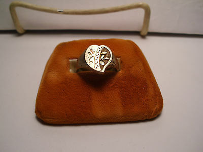 Antique 'chinese Silver'  Heart Ring - Gold Wash??