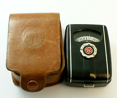 General Electric Ge Exposuse Light Meter Type Pr-30 Mascot In Leather Case