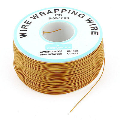 305M 1000ft Breadboard Tin Plated Copper Wire Wrapping Cable Reel 30AWG Brown