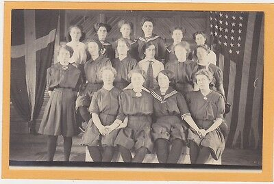 Real Photo Postcard RPPC - Girls in Gymsuits with American and Swedish Flags