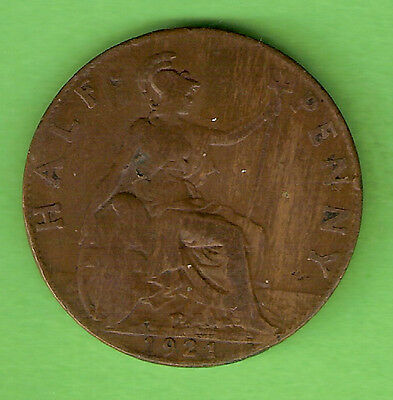 1921  Great Britain Bronze One Half Penny Coin