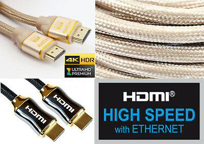 Braided Ultra HD HDMI Cable v2.0 High Speed HDR HDTV 3D 2160p ARC 4K GOLD BLACK