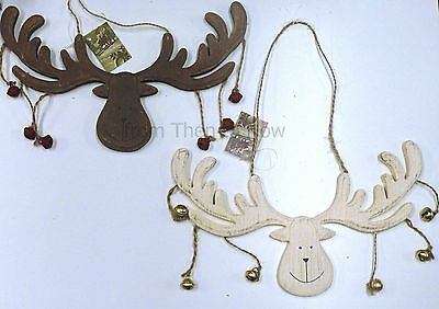 Chic Shabby Reindeer Moose Head Christmas Decoration Xmas Plaque Sign With Bells