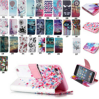 Folio Slot Wallet Leather Holster Case Cover Stand For iPod Touch 6th 5th Gen