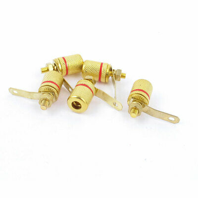 5 Pieces Gold Tone Red Amplifier Banana Socket 4mm Male Threaded Binding Posts