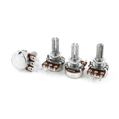 4 Pcs Type B Single Linear Knurled Shaft 3 Terminals Potentiometers 250K Ohm