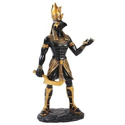 Ancient Egyptian Black & Gold Finish Falcon God Horus Figurine Decor Collection