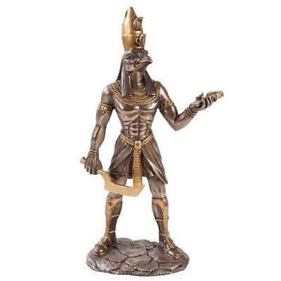 Ancient Egyptian Bronze Finish Falcon God of War Horus Figurine Decor Collection