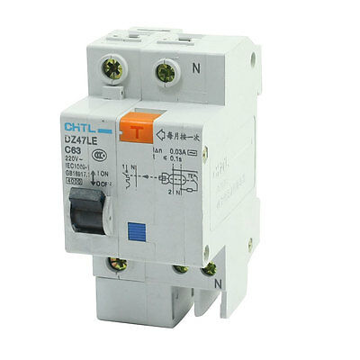 AC 220V 63A One Pole Overload Protection ELCB Earth Leakage Circuit Breaker