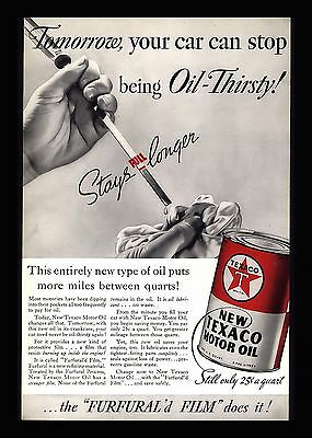 "Vintage 1936 Texaco Motor Oil ""Oil-Thirsty"" Furfural'd Film Advertising Print Ad"