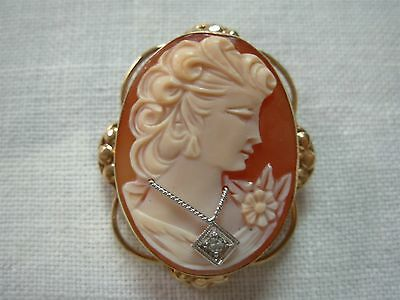 ANTIQUE 14K YELLOW GOLD CARVED CAMEO BROOCH PIN PENDANT w PRETTY LADY & DIAMOND