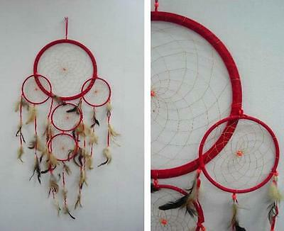 HUGE round RED 36 INCH DREAMCATCHER feather bead handmade LARGE dream catcher