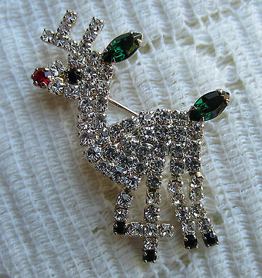 Vintage Style Eisenberg Ice Crystals Red Nose Reindeer Christmas Pin Brooch