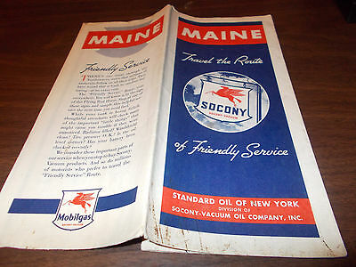 1938 Socony / Mobil MAINE Vintage Road Map
