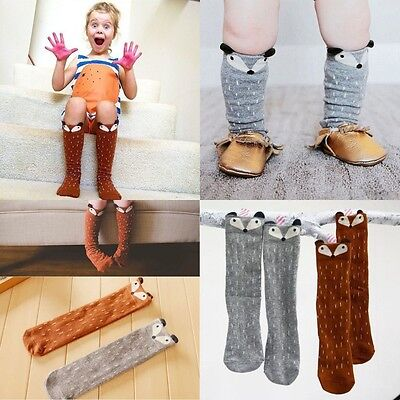 Cute Kids Girls Baby Toddlers Fox Knee High Socks Tights Leg Warmer Stockings