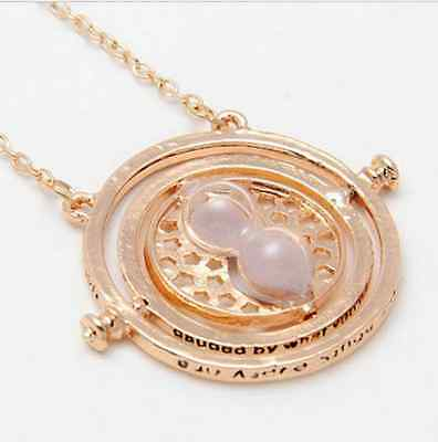 New Fashion Hermione Granger Rotating Time Turner Necklace Gold Hourglass
