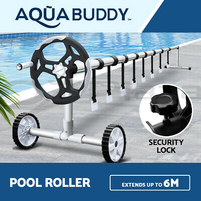 Swimming Pool Cover Roller Reel Adjustable Solar w/ Wheels Thermal Blanket