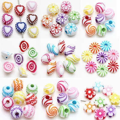 Lots Mixed Style Acrylic Loose Charms Loose Spacer Beads Crafts Jewelry Making