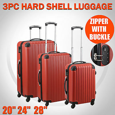3 Piece Luggage Set Hard Shell Lightweight Red Travel Trolley Suitcase Cabin