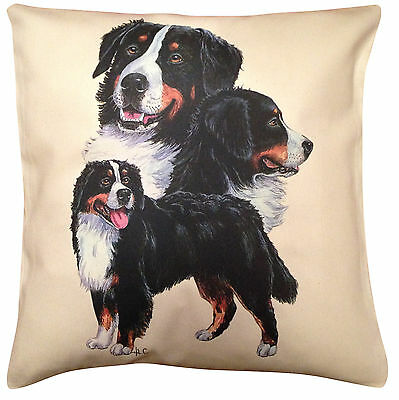 Bernese Mountain Dog Group Cotton Cushion Cover - Cream or White - Gift Item