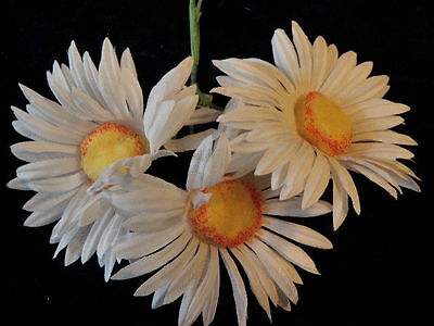 """Large Vintage Millinery Flower 4"""" Daisy Lot White w/ Yellow Chenille center KL"""
