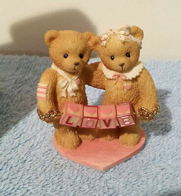 Cherished Teddies Love  203076  Bears With Love Letters  1996 Mini Double Fig